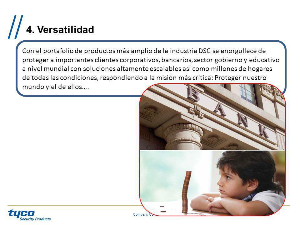 4. Versatilidad Company Confidential Con el portafolio de productos más amplio de la industria DSC se enorgullece de proteger a importantes clientes c