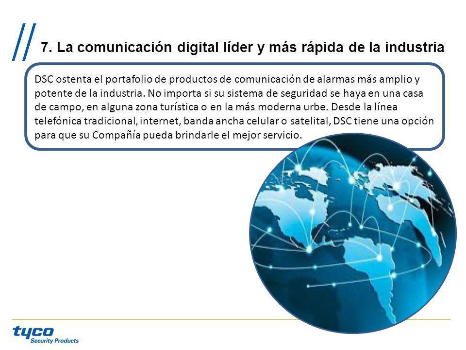 7. La comunicación digital líder y más rápida de la industria DSC ostenta el portafolio de productos de comunicación de alarmas más amplio y potente d