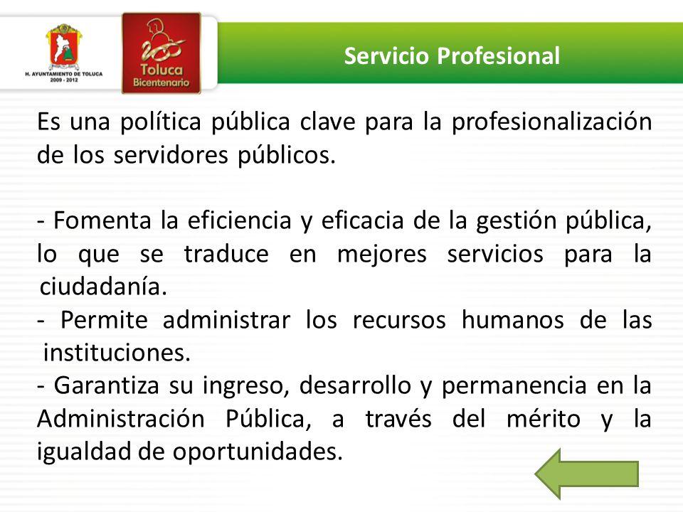 Es una política pública clave para la profesionalización de los servidores públicos._______________________ - Fomenta la eficiencia y eficacia de la gestión pública, lo que se traduce en mejores servicios para la ciudadanía.___________________________________ - Permite administrar los recursos humanos de las instituciones._________________________________ - Garantiza su ingreso, desarrollo y permanencia en la Administración Pública, a través del mérito y la igualdad de oportunidades.