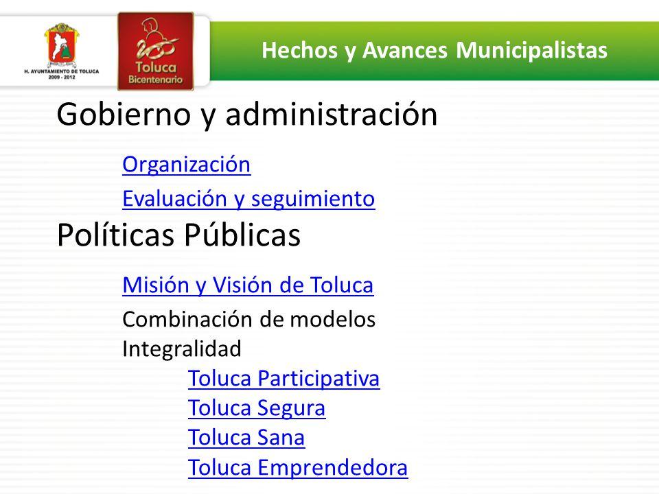 Gobierno y administración Organización Evaluación y seguimiento Políticas Públicas Misión y Visión de Toluca Combinación de modelos Integralidad Toluc