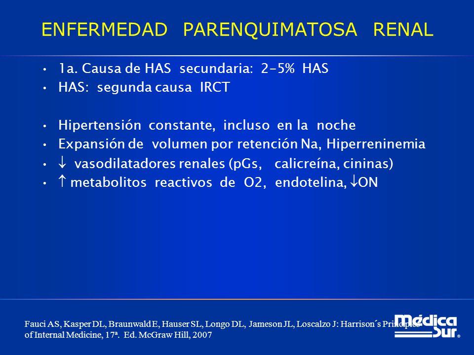 ENFERMEDAD PARENQUIMATOSA RENAL 1a. Causa de HAS secundaria: 2-5% HAS HAS: segunda causa IRCT Hipertensión constante, incluso en la noche Expansión de