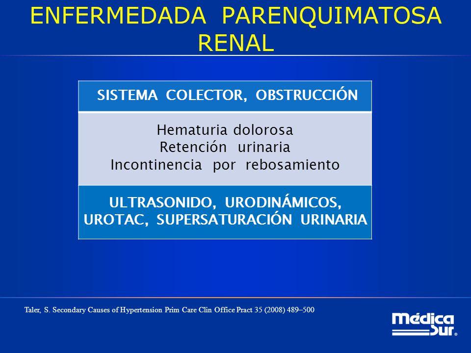ENFERMEDADA PARENQUIMATOSA RENAL SISTEMA COLECTOR, OBSTRUCCIÓN Hematuria dolorosa Retención urinaria Incontinencia por rebosamiento ULTRASONIDO, URODI