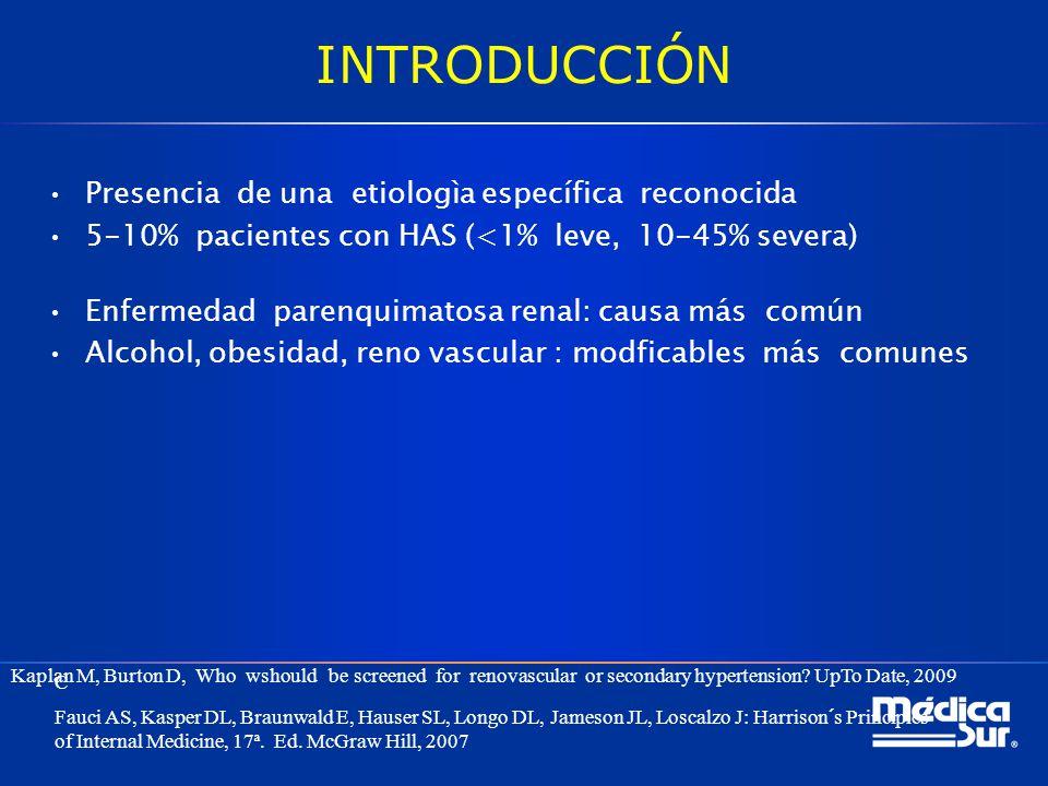 INTRODUCCIÓN Presencia de una etiologìa específica reconocida 5-10% pacientes con HAS (<1% leve, 10-45% severa) Enfermedad parenquimatosa renal: causa