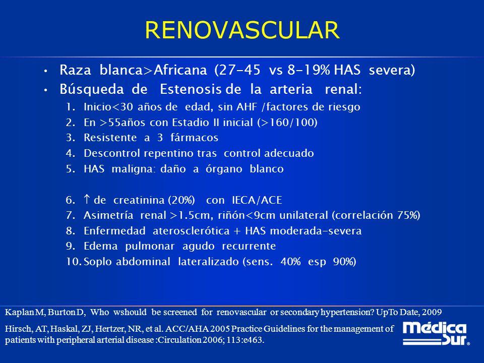 RENOVASCULAR Raza blanca>Africana (27-45 vs 8-19% HAS severa) Búsqueda de Estenosis de la arteria renal: 1.Inicio<30 años de edad, sin AHF /factores d
