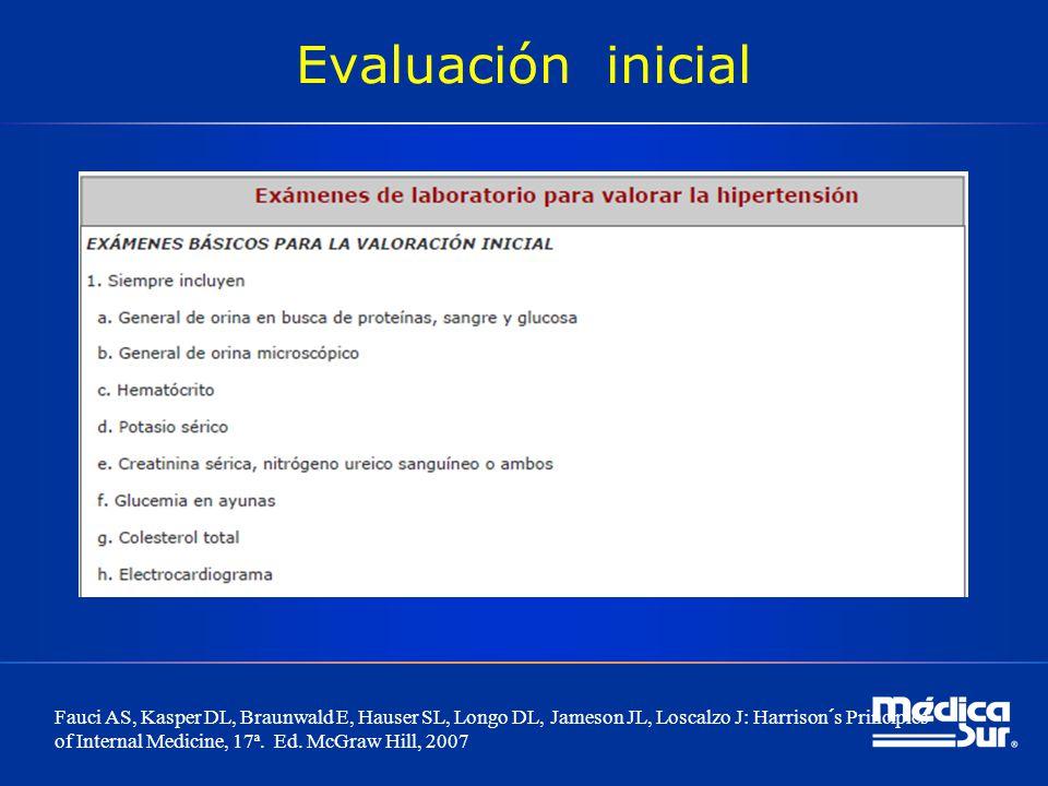 Evaluación inicial Fauci AS, Kasper DL, Braunwald E, Hauser SL, Longo DL, Jameson JL, Loscalzo J: Harrison´s Principles of Internal Medicine, 17ª. Ed.