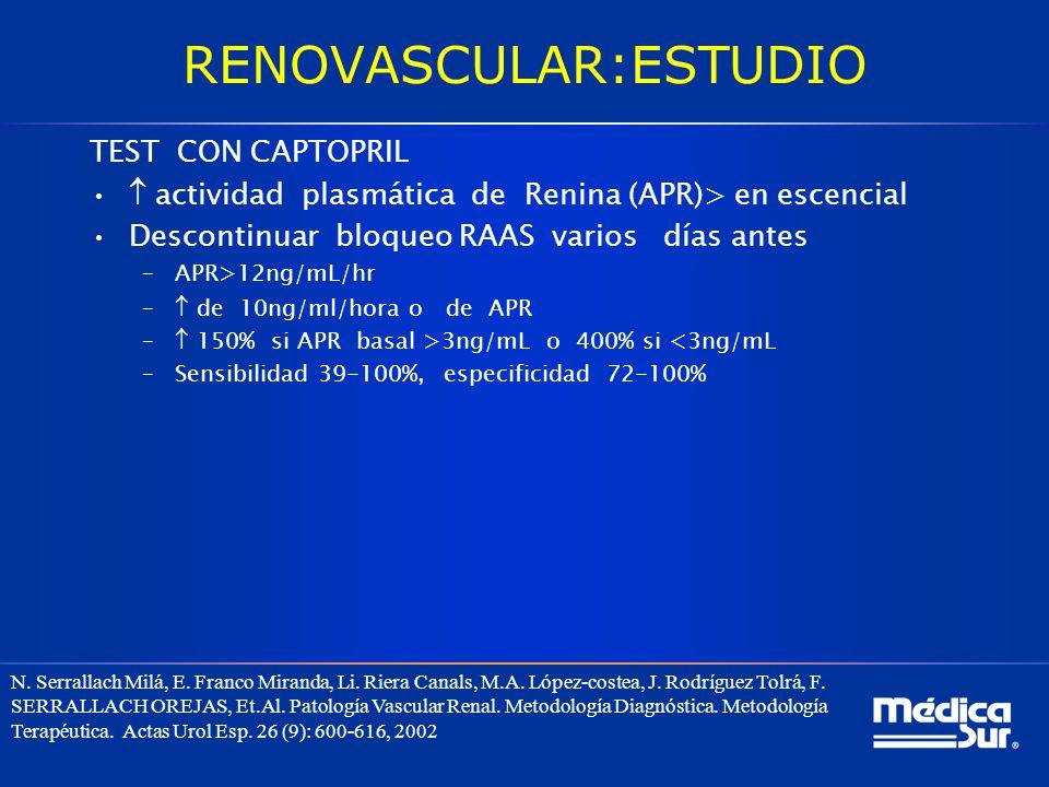 RENOVASCULAR:ESTUDIO TEST CON CAPTOPRIL actividad plasmática de Renina (APR)> en escencial Descontinuar bloqueo RAAS varios días antes –APR>12ng/mL/hr