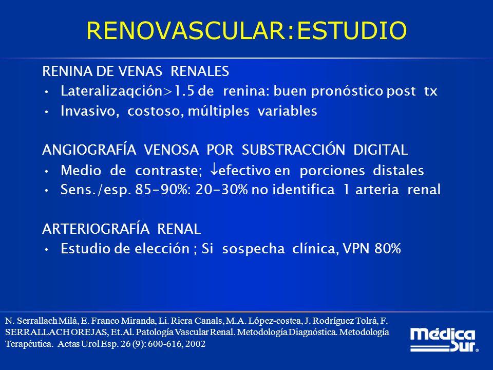 RENOVASCULAR:ESTUDIO RENINA DE VENAS RENALES Lateralizaqción>1.5 de renina: buen pronóstico post tx Invasivo, costoso, múltiples variables ANGIOGRAFÍA