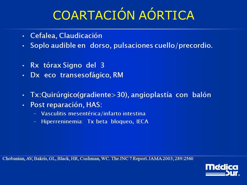 Cefalea, Claudicación Soplo audible en dorso, pulsaciones cuello/precordio. Rx tórax Signo del 3 Dx eco transesofágico, RM Tx:Quirúrgico(gradiente>30)