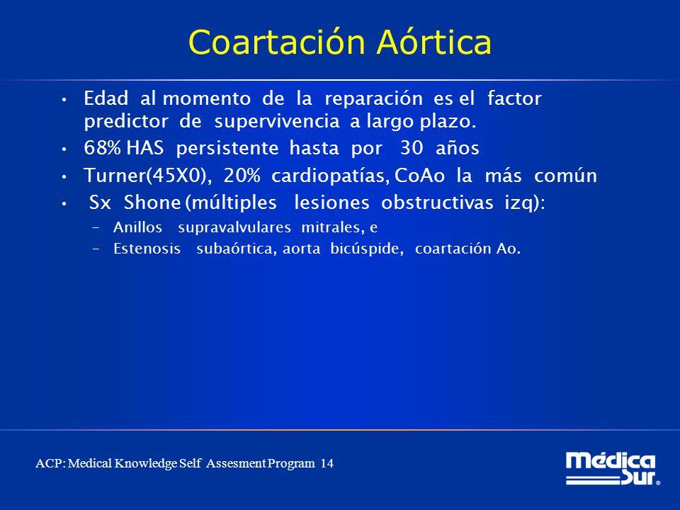 Coartación Aórtica Edad al momento de la reparación es el factor predictor de supervivencia a largo plazo. 68% HAS persistente hasta por 30 años Turne