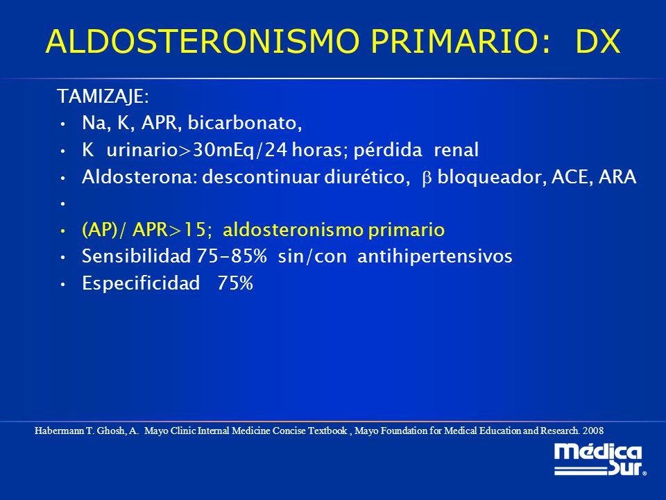 ALDOSTERONISMO PRIMARIO: DX TAMIZAJE: Na, K, APR, bicarbonato, K urinario>30mEq/24 horas; pérdida renal Aldosterona: descontinuar diurético, bloqueado