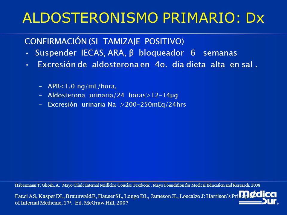 ALDOSTERONISMO PRIMARIO: Dx CONFIRMACIÓN (SI TAMIZAJE POSITIVO) Suspender IECAS, ARA, β bloqueador 6 semanas Excresión de aldosterona en 4o. día dieta
