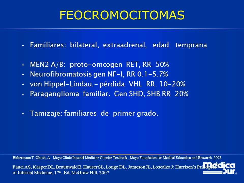 FEOCROMOCITOMAS Familiares: bilateral, extraadrenal, edad temprana MEN2 A/B: proto-omcogen RET, RR 50% Neurofibromatosis gen NF-I, RR 0.1-5.7% von Hip