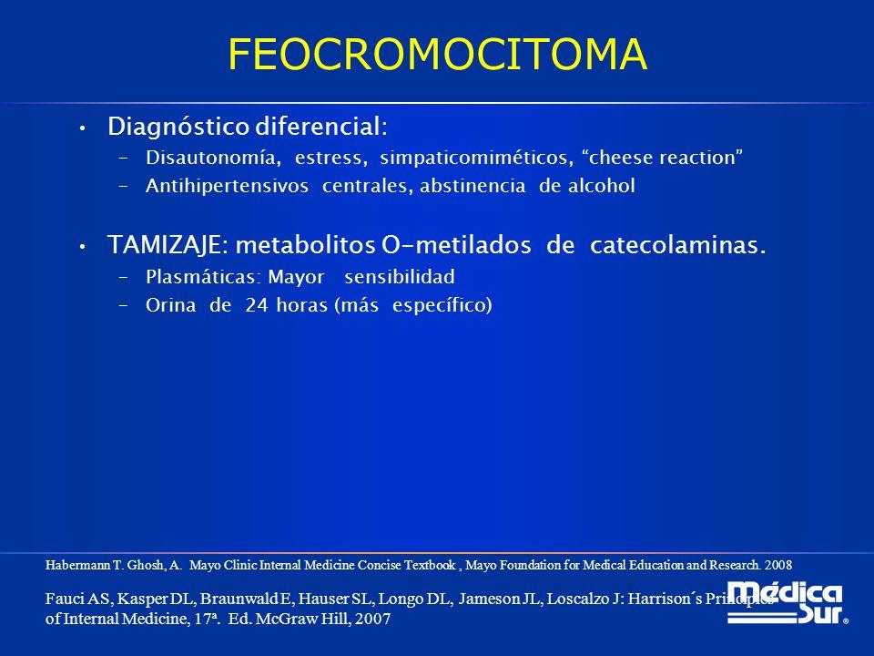 FEOCROMOCITOMA Diagnóstico diferencial: –Disautonomía, estress, simpaticomiméticos, cheese reaction –Antihipertensivos centrales, abstinencia de alcoh