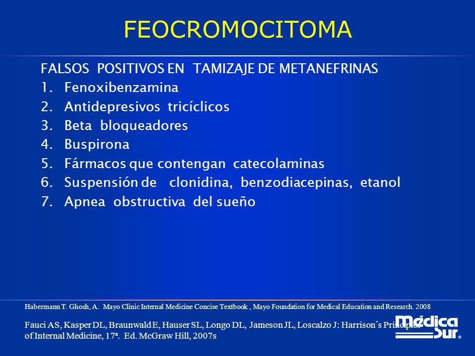 FEOCROMOCITOMA FALSOS POSITIVOS EN TAMIZAJE DE METANEFRINAS 1.Fenoxibenzamina 2.Antidepresivos tricíclicos 3.Beta bloqueadores 4.Buspirona 5.Fármacos