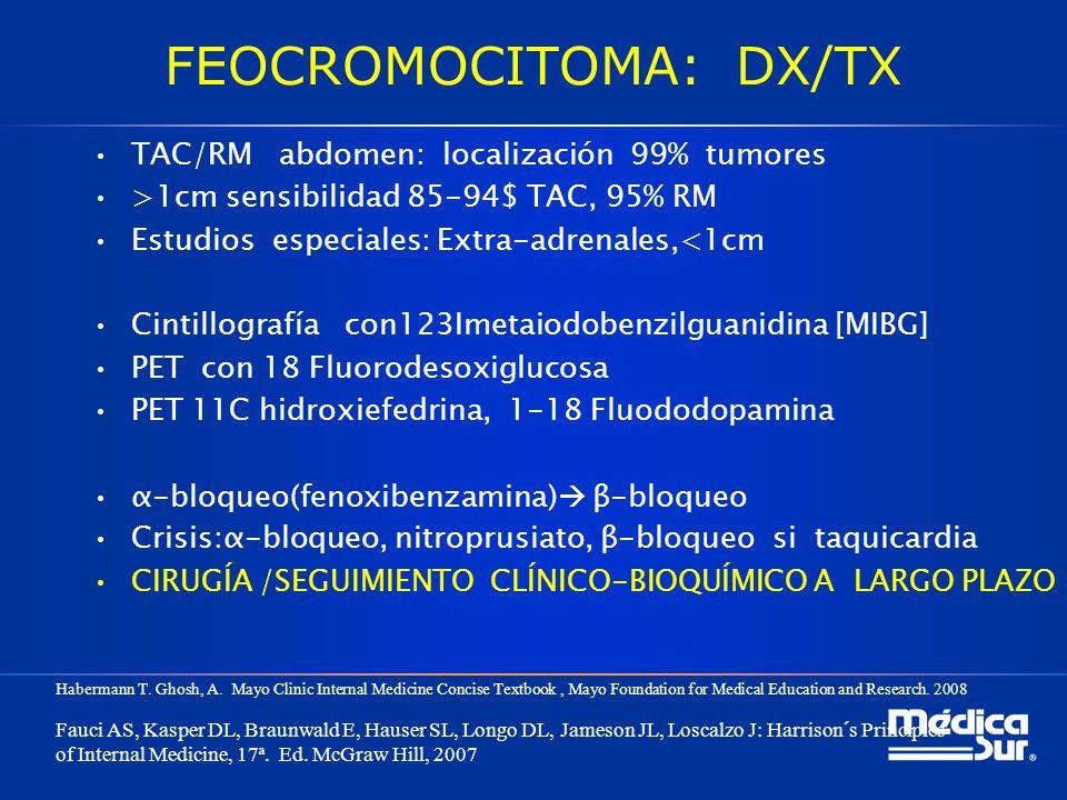FEOCROMOCITOMA: DX/TX TAC/RM abdomen: localización 99% tumores >1cm sensibilidad 85-94$ TAC, 95% RM Estudios especiales: Extra-adrenales,<1cm Cintillo