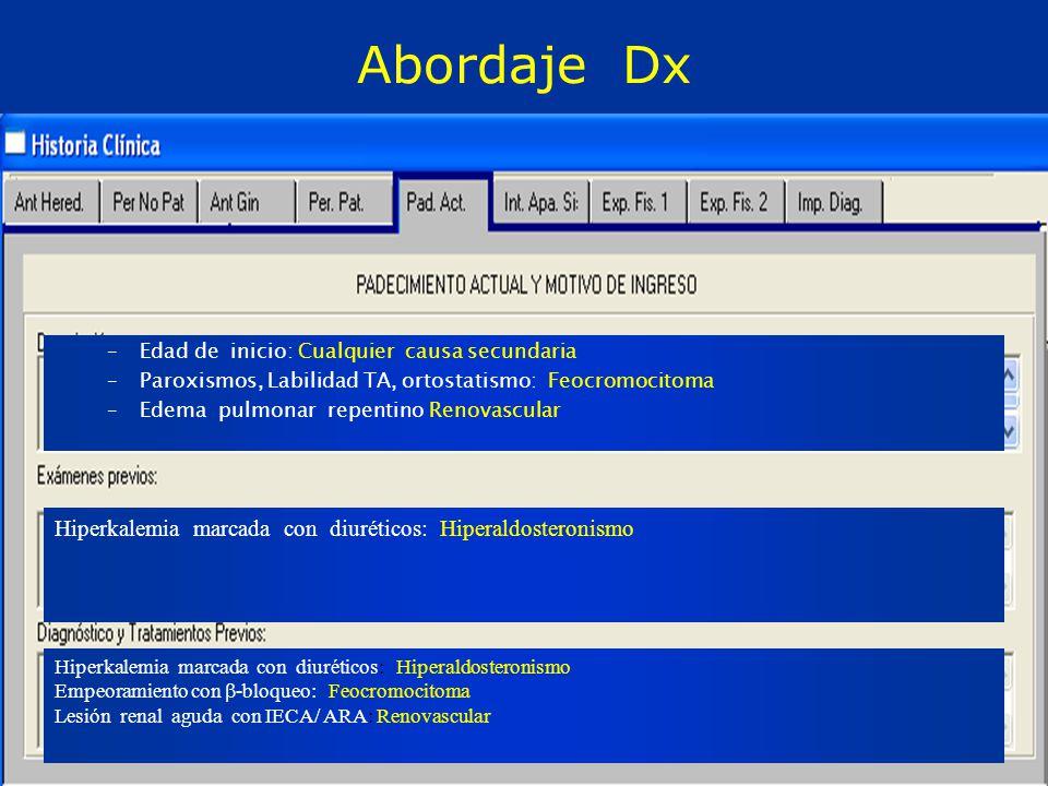 Abordaje Dx –Edad de inicio: Cualquier causa secundaria –Paroxismos, Labilidad TA, ortostatismo: Feocromocitoma –Edema pulmonar repentino Renovascular