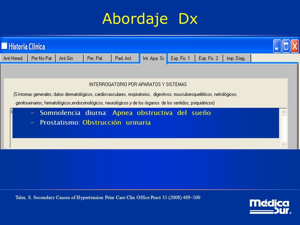 Abordaje Dx –Somnolencia diurna: Apnea obstructiva del sueño –Prostatismo: Obstrucción urinaria Taler, S. Secondary Causes of Hypertension Prim Care C
