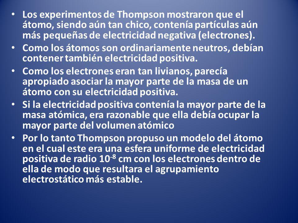 Los experimentos de Thompson mostraron que el átomo, siendo aún tan chico, contenía partículas aún más pequeñas de electricidad negativa (electrones).