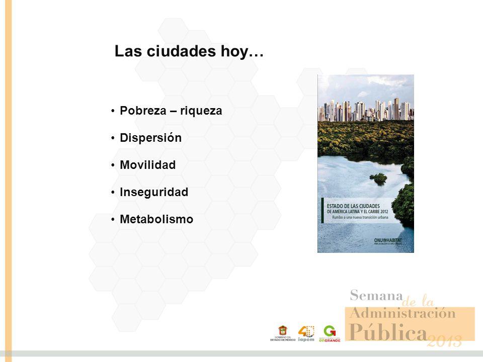 Las ciudades hoy… Pobreza – riqueza Dispersión Movilidad Inseguridad Metabolismo 3