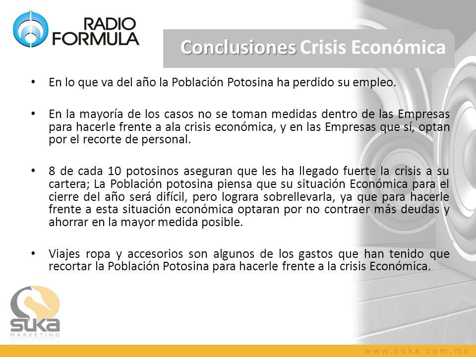 Conclusiones Conclusiones Crisis Económica En lo que va del año la Población Potosina ha perdido su empleo. En la mayoría de los casos no se toman med