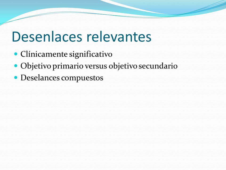 Desenlaces relevantes Clínicamente significativo Objetivo primario versus objetivo secundario Deselances compuestos