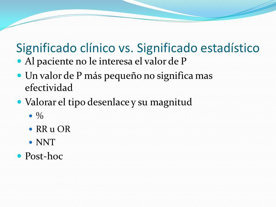 Significado clínico vs. Significado estadístico Al paciente no le interesa el valor de P Un valor de P más pequeño no significa mas efectividad Valora