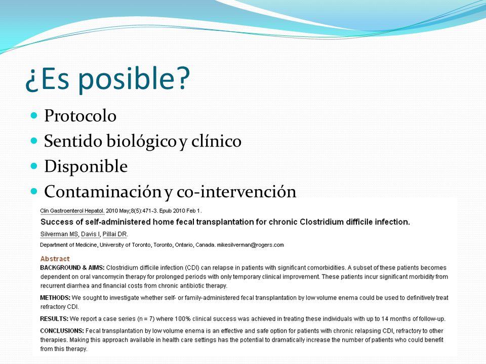 ¿Es posible Protocolo Sentido biológico y clínico Disponible Contaminación y co-intervención