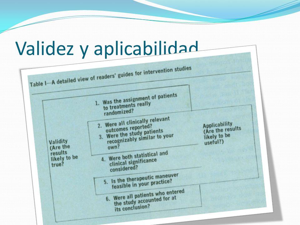 Validez y aplicabilidad