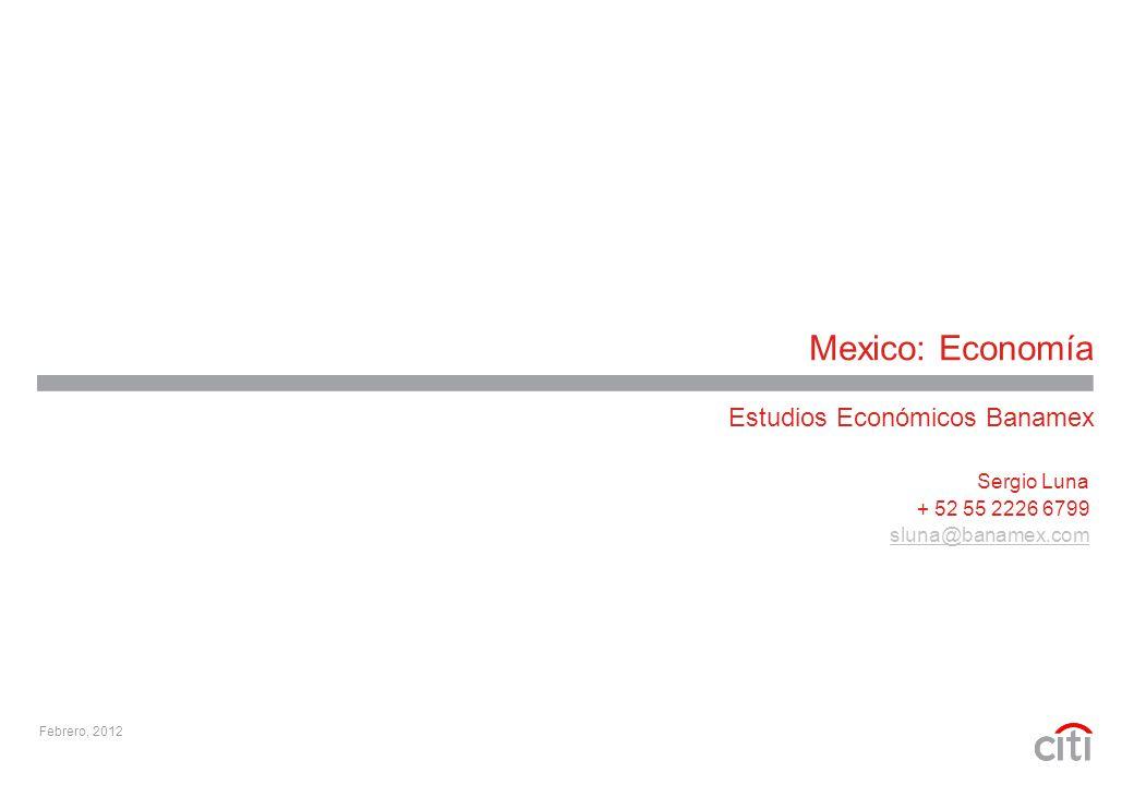 Mexico: Economía Estudios Económicos Banamex Febrero, 2012 Sergio Luna + 52 55 2226 6799 sluna@banamex.com