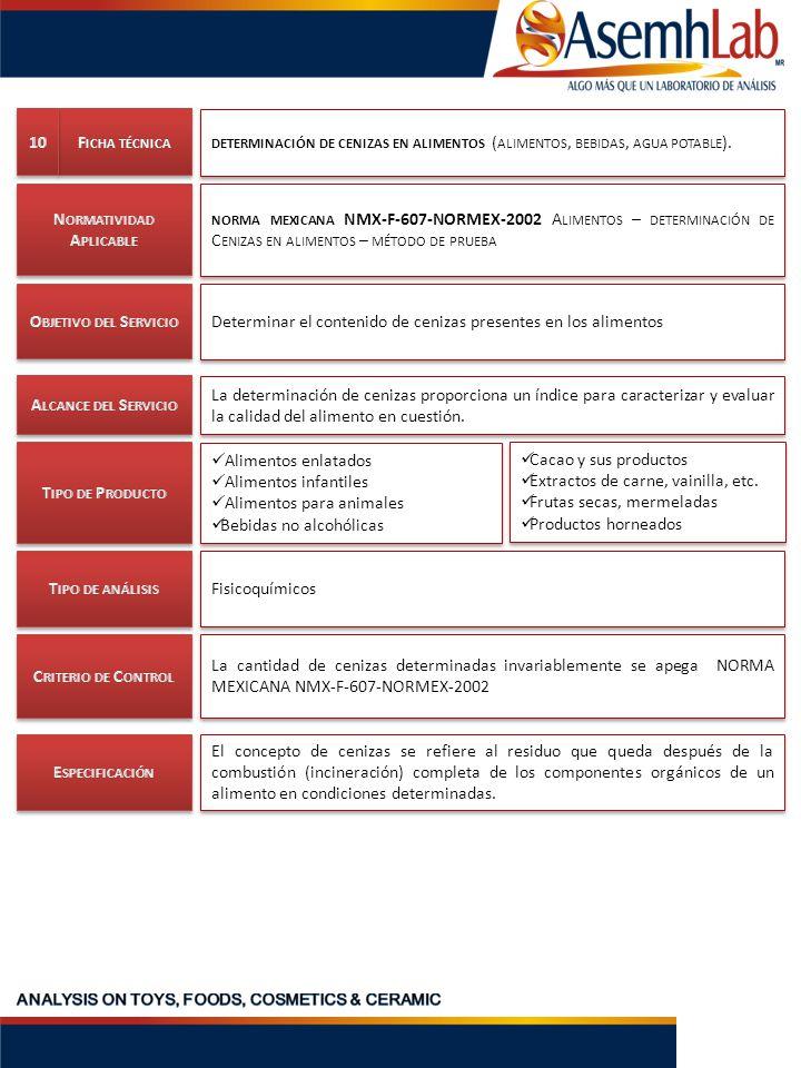 DETERMINACIÓN DE CENIZAS EN ALIMENTOS ( ALIMENTOS, BEBIDAS, AGUA POTABLE ). NORMA MEXICANA NMX-F-607-NORMEX-2002 A LIMENTOS – DETERMINACIÓN DE C ENIZA