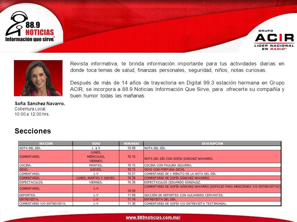 Sofía Sánchez Navarro.Cobertura Local. 10:00 a 12:00 hrs.