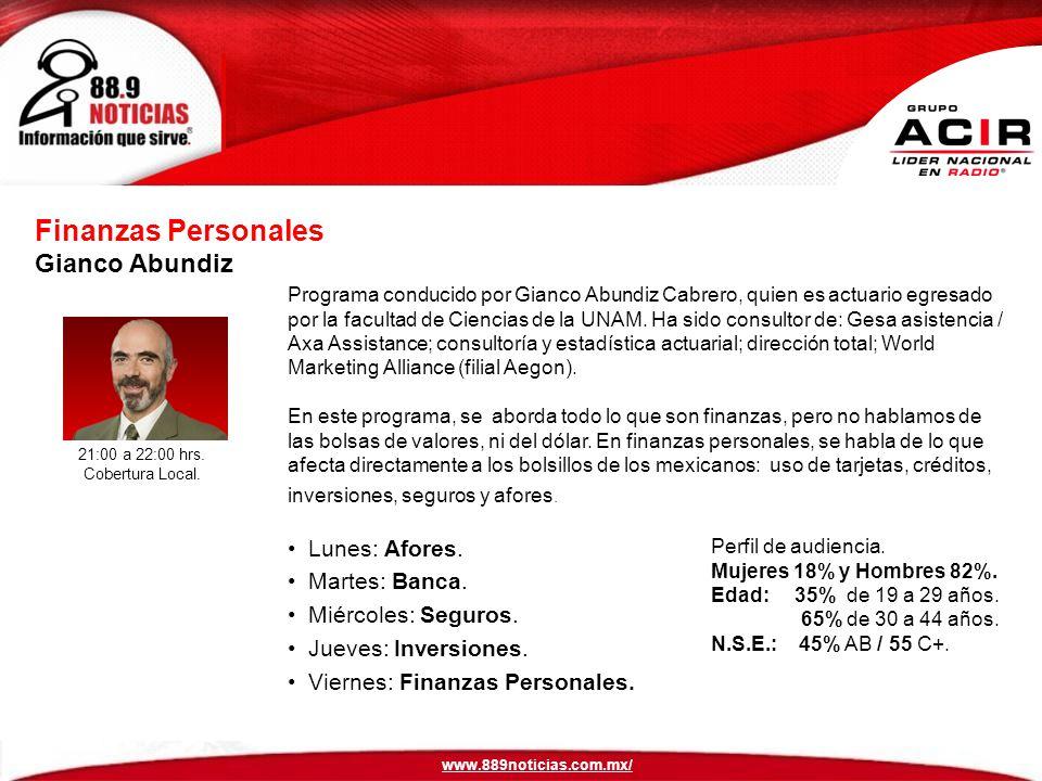 Programa conducido por Gianco Abundiz Cabrero, quien es actuario egresado por la facultad de Ciencias de la UNAM.