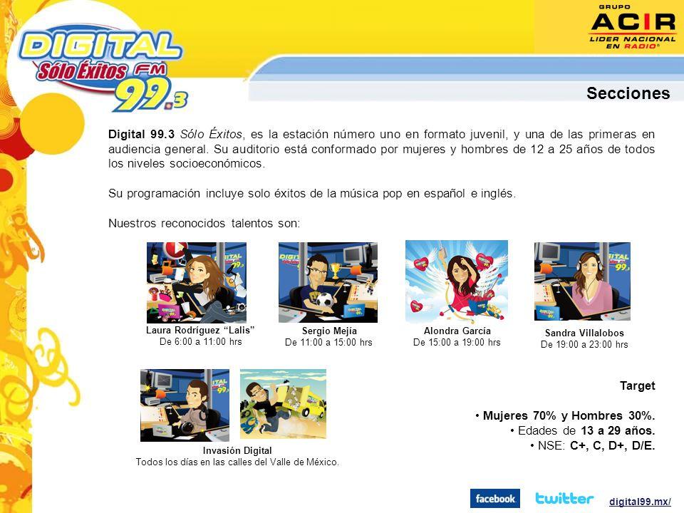 Digital 99.3 Sólo Éxitos, es la estación número uno en formato juvenil, y una de las primeras en audiencia general.