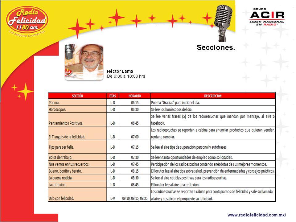 www.radiofelicidad.com.mx/ Héctor Lama De 6:00 a 10:00 hrs Secciones.