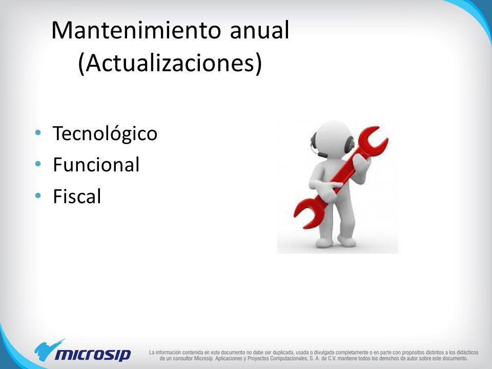 Mantenimiento anual (Actualizaciones) Tecnológico Funcional Fiscal