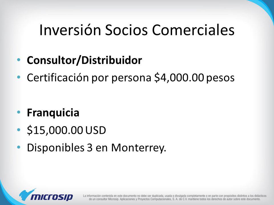 Inversión Socios Comerciales Consultor/Distribuidor Certificación por persona $4,000.00 pesos Franquicia $15,000.00 USD Disponibles 3 en Monterrey.