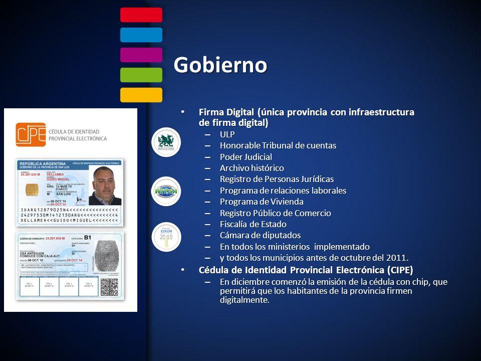 Gobierno Firma Digital (única provincia con infraestructura de firma digital) Firma Digital (única provincia con infraestructura de firma digital) – U