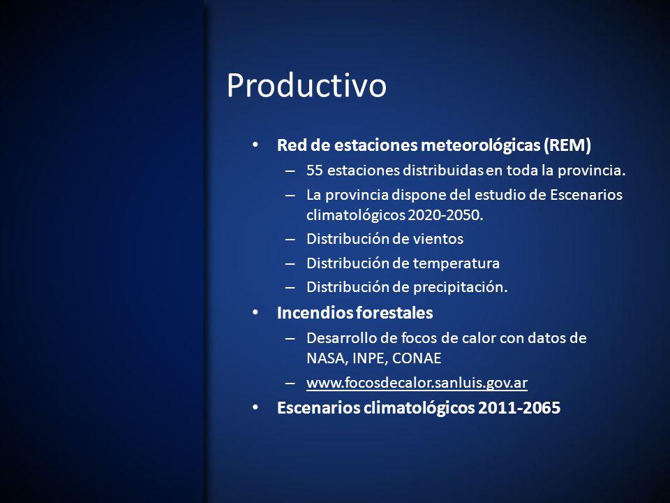 Productivo Red de estaciones meteorológicas (REM) – 55 estaciones distribuidas en toda la provincia.