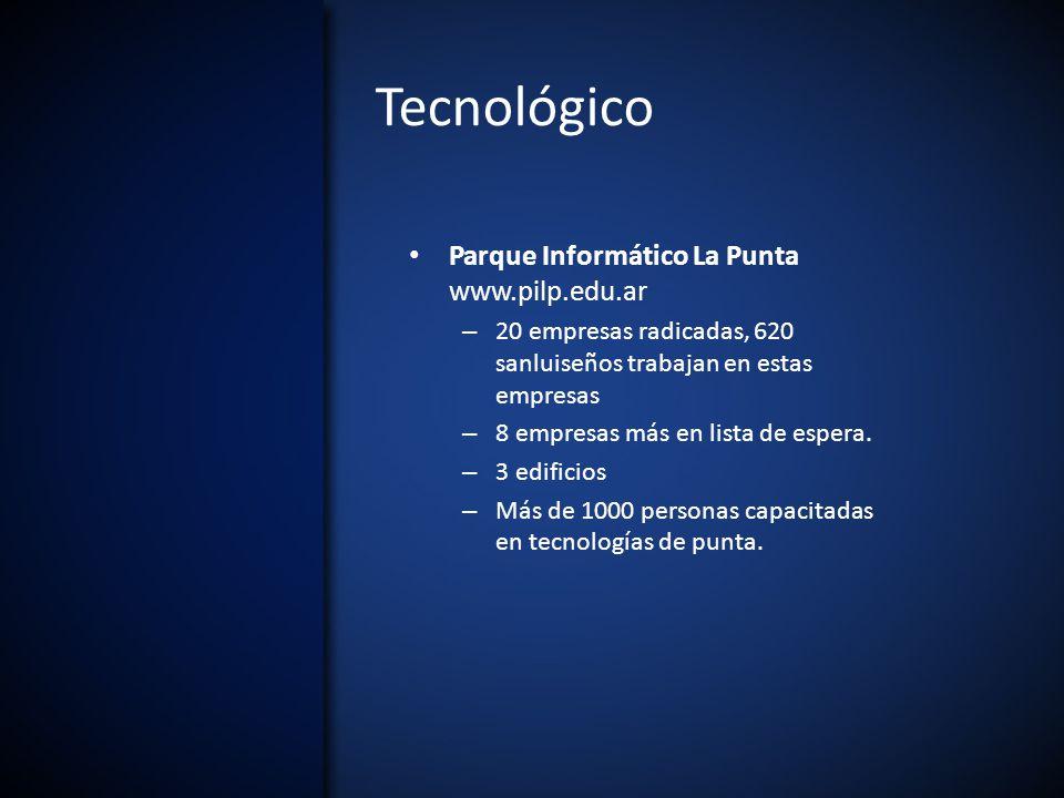 Tecnológico Parque Informático La Punta www.pilp.edu.ar – 20 empresas radicadas, 620 sanluiseños trabajan en estas empresas – 8 empresas más en lista de espera.
