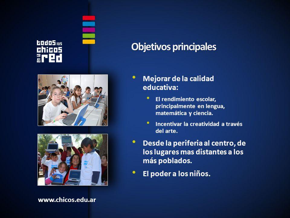 Mejorar de la calidad educativa: El rendimiento escolar, principalmente en lengua, matemática y ciencia.