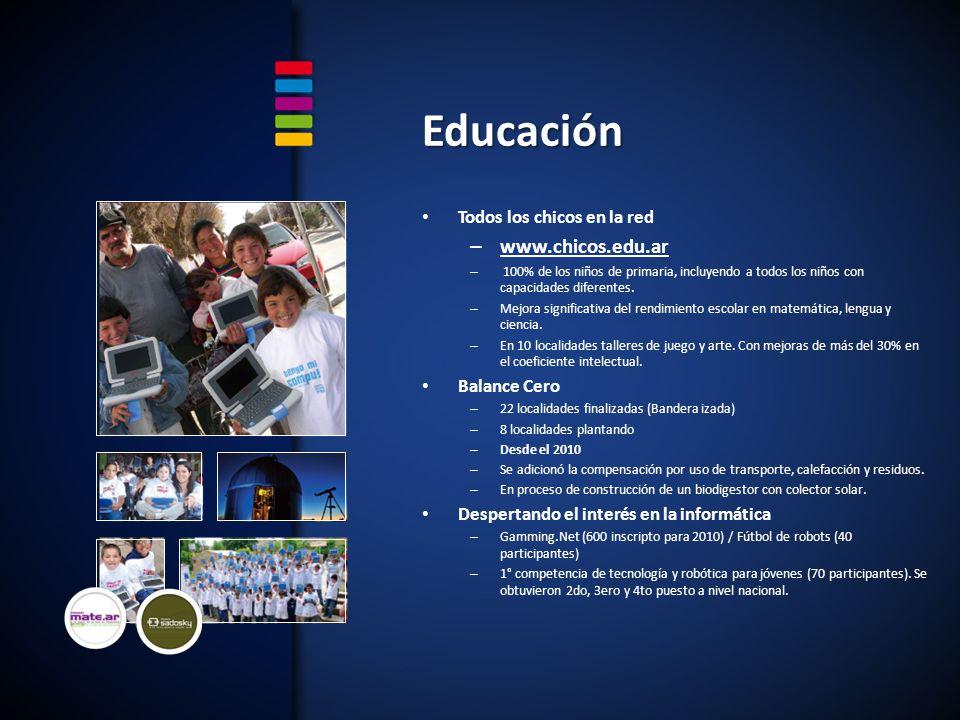 Todos los chicos en la red – www.chicos.edu.ar – 100% de los niños de primaria, incluyendo a todos los niños con capacidades diferentes.