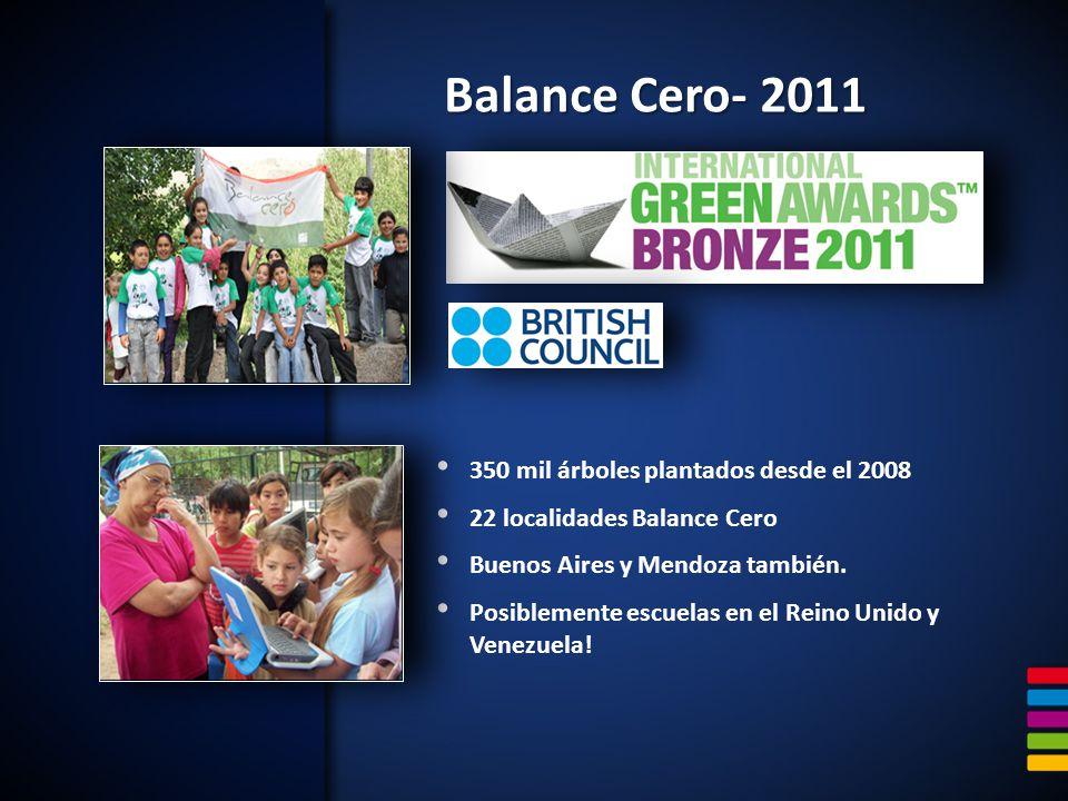 Balance Cero- 2011 350 mil árboles plantados desde el 2008 22 localidades Balance Cero Buenos Aires y Mendoza también. Posiblemente escuelas en el Rei