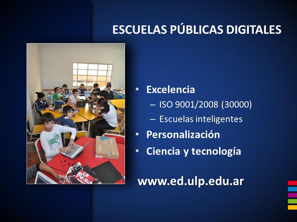 www.ed.ulp.edu.ar Excelencia – ISO 9001/2008 (30000) – Escuelas inteligentes Personalización Ciencia y tecnología ESCUELAS PÚBLICAS DIGITALES