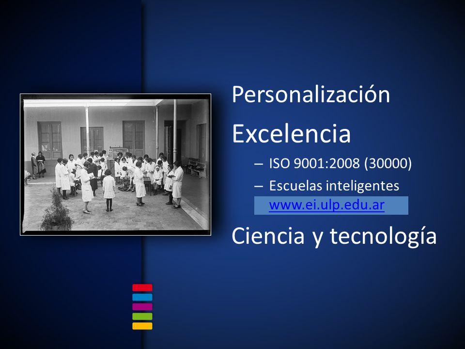 Personalización Excelencia – ISO 9001:2008 (30000) – Escuelas inteligentes www.ei.ulp.edu.ar www.ei.ulp.edu.ar Ciencia y tecnología