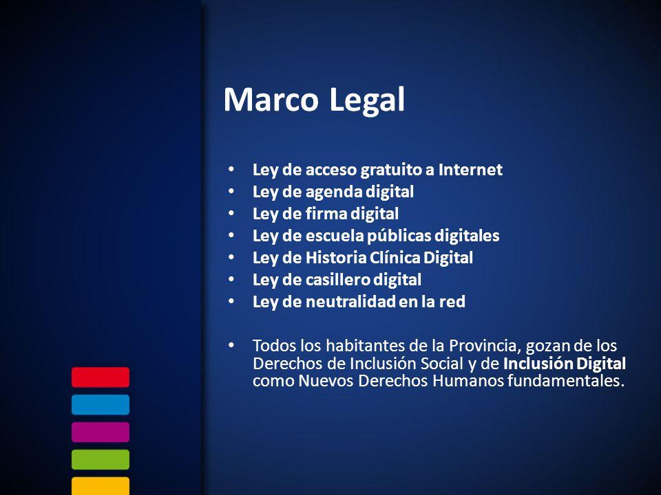 Marco Legal Ley de acceso gratuito a Internet Ley de agenda digital Ley de firma digital Ley de escuela públicas digitales Ley de Historia Clínica Digital Ley de casillero digital Ley de neutralidad en la red Todos los habitantes de la Provincia, gozan de los Derechos de Inclusión Social y de Inclusión Digital como Nuevos Derechos Humanos fundamentales.