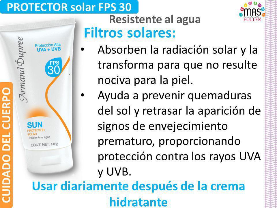 Filtros solares: Absorben la radiación solar y la transforma para que no resulte nociva para la piel. Ayuda a prevenir quemaduras del sol y retrasar l