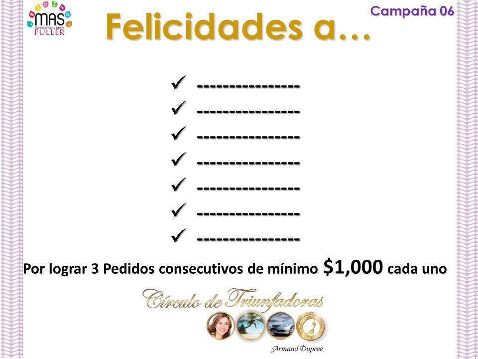 Campaña 06 Felicidades a… ---------------- ---------------- Por lograr 3 Pedidos consecutivos de mínimo $1,000 cada uno