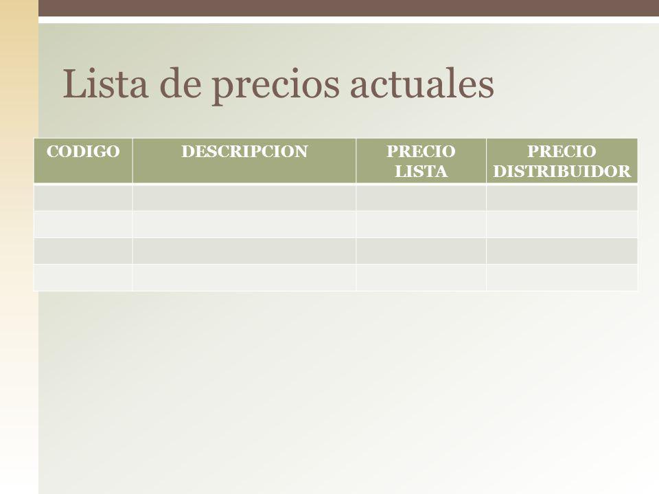 CODIGODESCRIPCIONPRECIO LISTA PRECIO DISTRIBUIDOR Lista de precios actuales