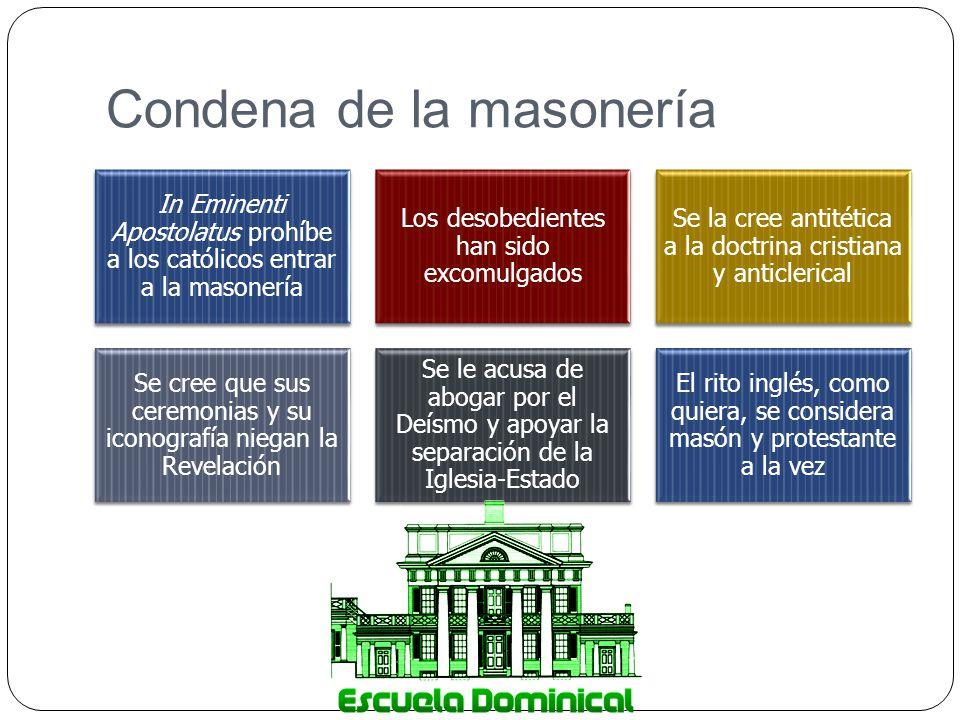Condena de la masonería In Eminenti Apostolatus prohíbe a los católicos entrar a la masonería Los desobedientes han sido excomulgados Se la cree antit