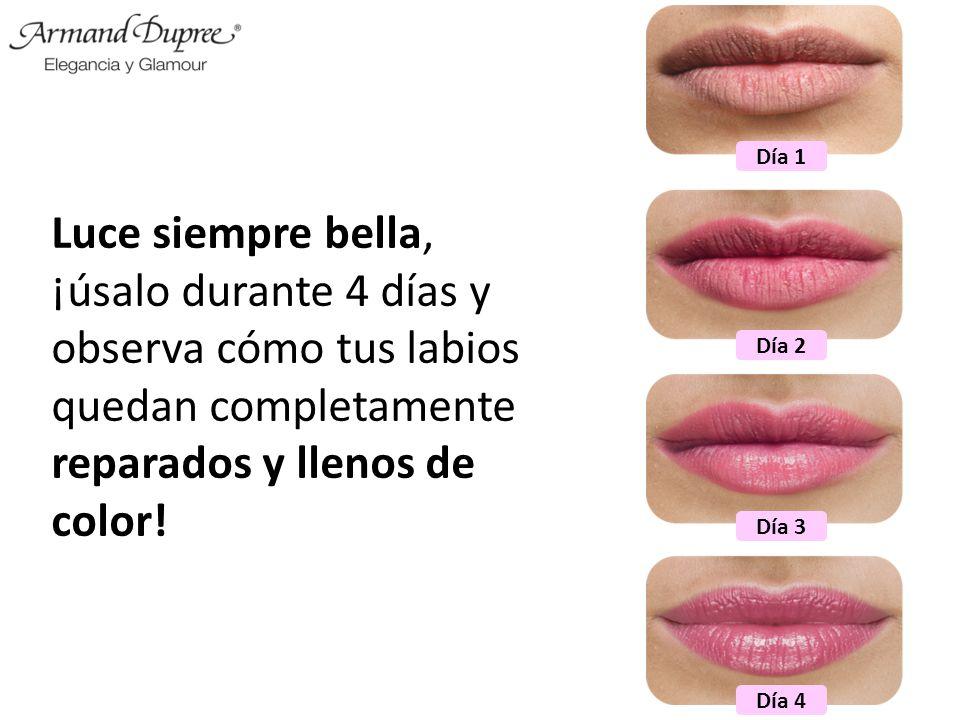 Luce siempre bella, ¡úsalo durante 4 días y observa cómo tus labios quedan completamente reparados y llenos de color! Día 1 Día 2 Día 3 Día 4